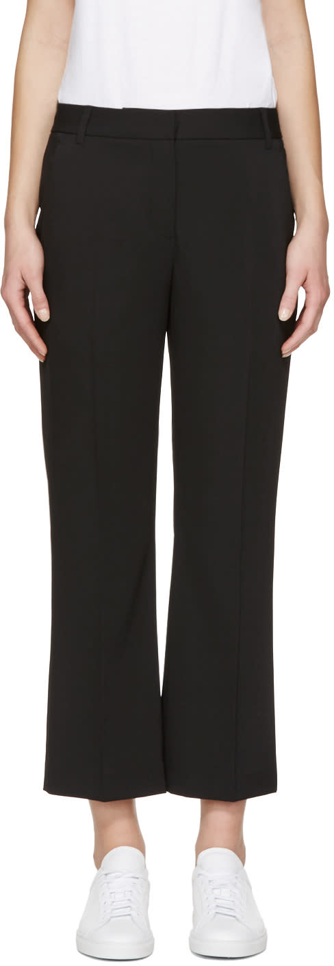 T By Alexander Wang Black Drape Front Trousers