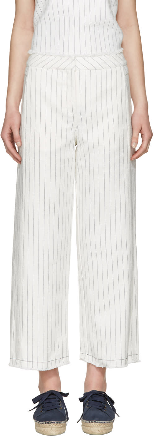 T By Alexander Wang White High-waisted Cotton Burlap Trousers