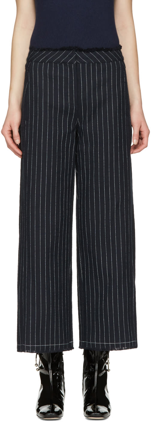 T By Alexander Wang Navy High-waisted Cotton Burlap Trousers