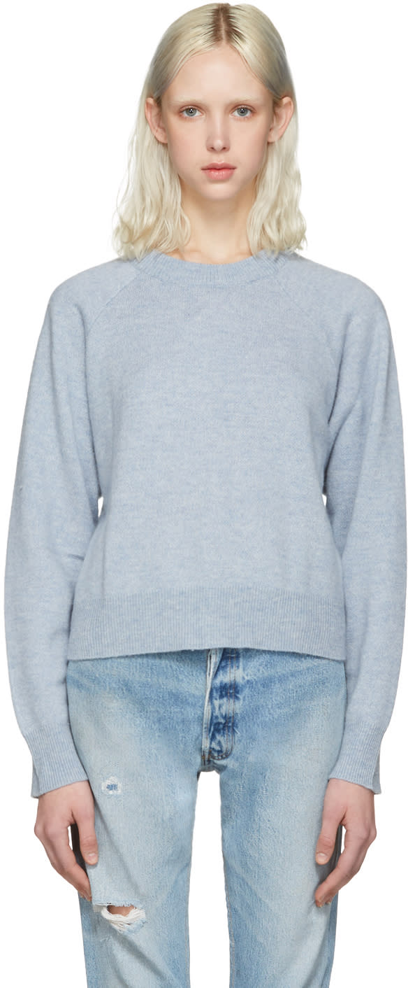 T By Alexander Wang Blue Cropped Sweater