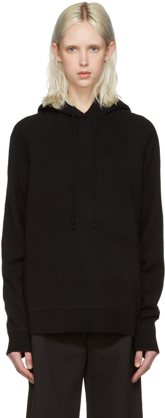 T By Alexander Wang Black Wool and Cashmere Hoodie