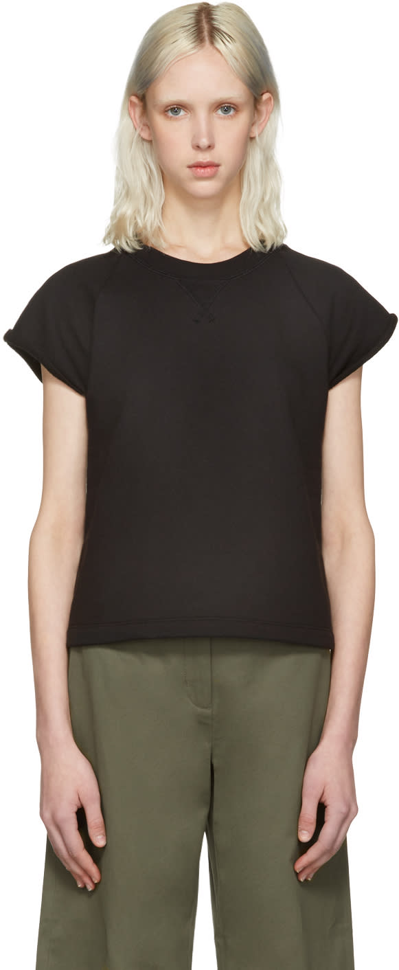 T By Alexander Wang Black Cap Sleeve Pullover