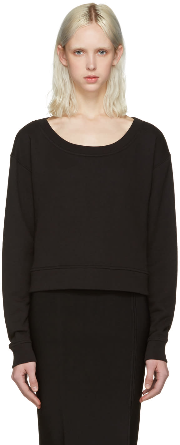 T By Alexander Wang Black Cropped Pullover