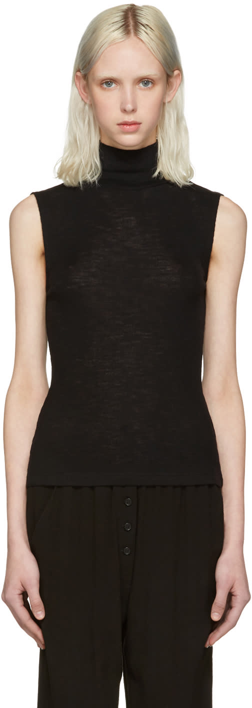 T By Alexander Wang Black Ribbed Sleeveless Turtleneck