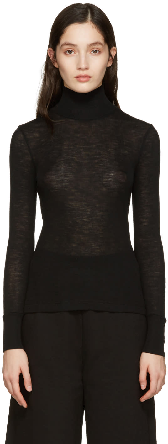 T By Alexander Wang Black Ribbed Turtleneck