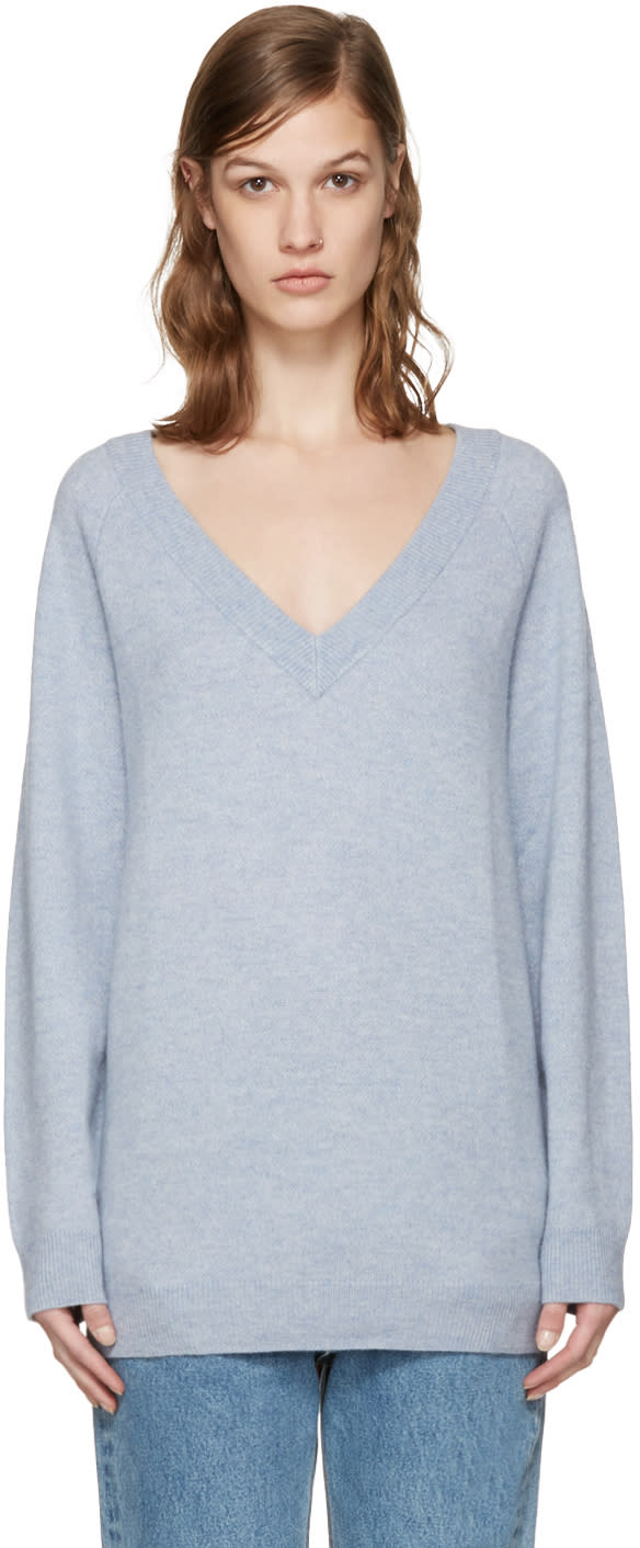 T By Alexander Wang Blue V-neck Sweater