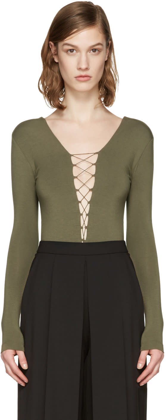 T By Alexander Wang Green Lace-up Bodysuit