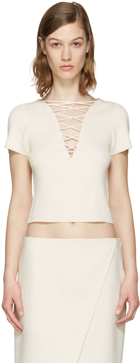 T By Alexander Wang Beige Lace-up Pullover