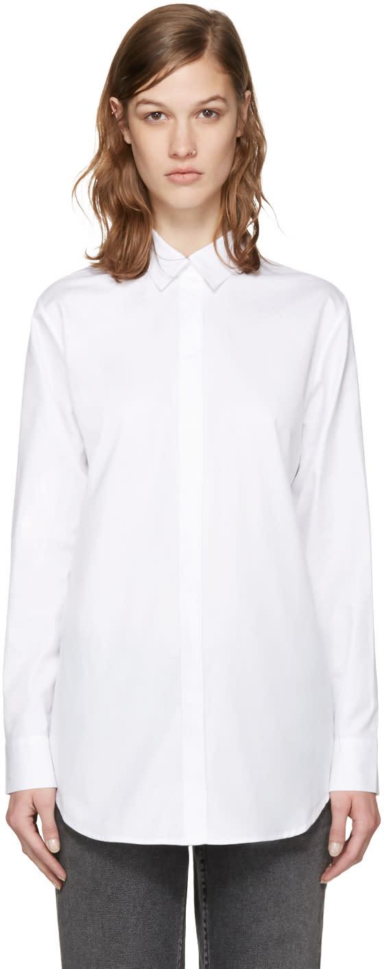 T By Alexander Wang White Poplin Cut-out Shirt