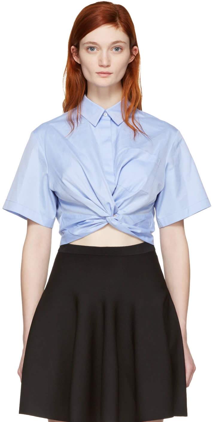 T By Alexander Wang Blue Twist Short Sleeve Cropped Shirt
