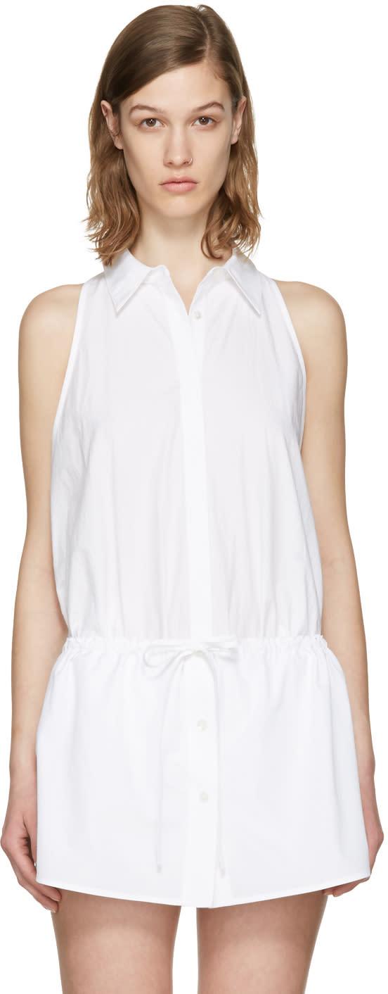 T By Alexander Wang White Poplin Bodysuit
