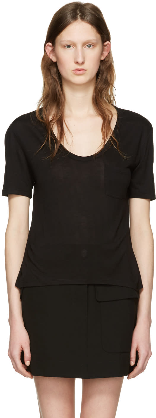 T By Alexander Wang Black Jersey Pocket T-shirt
