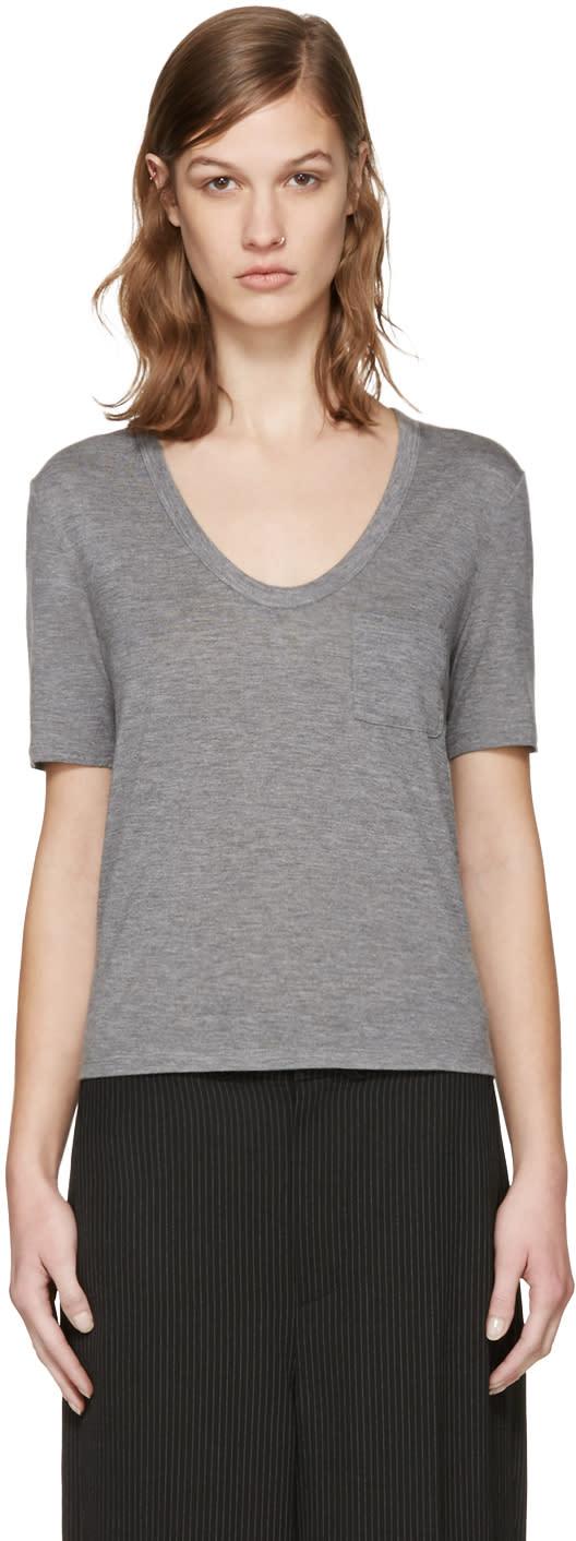 T By Alexander Wang Grey Jersey Pocket T-shirt