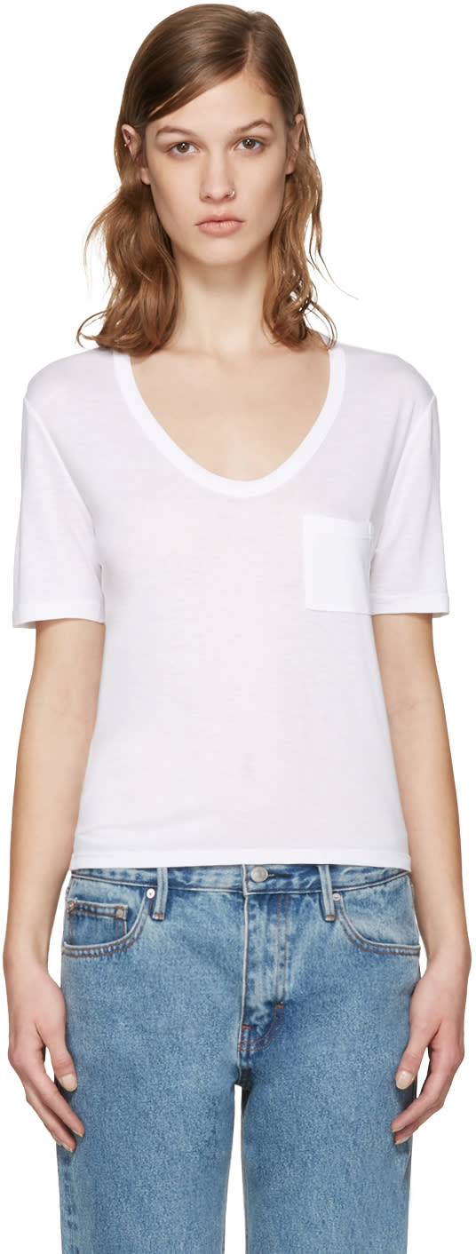 T By Alexander Wang White Jersey Pocket T-shirt