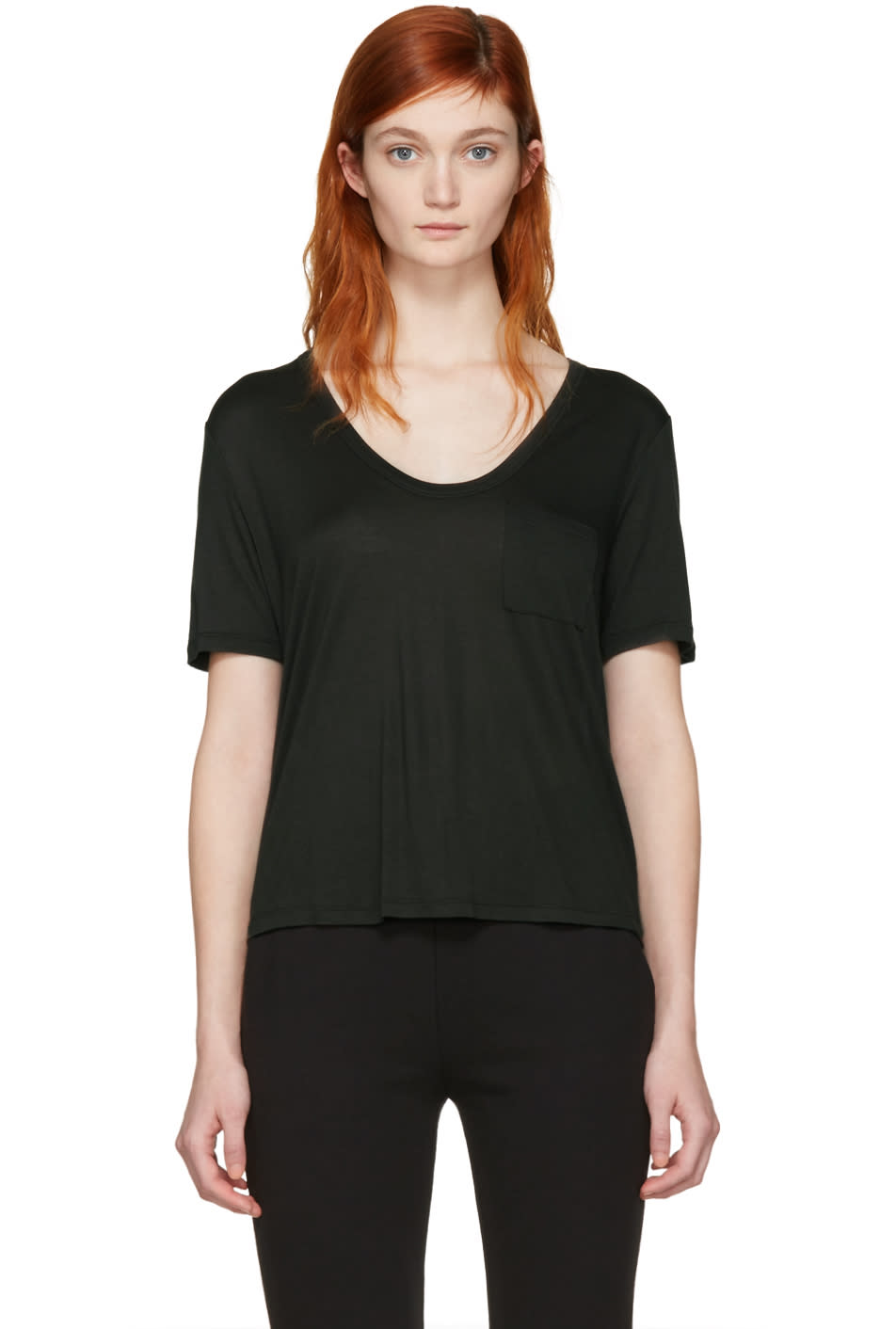 T By Alexander Wang Green Cropped T-shirt