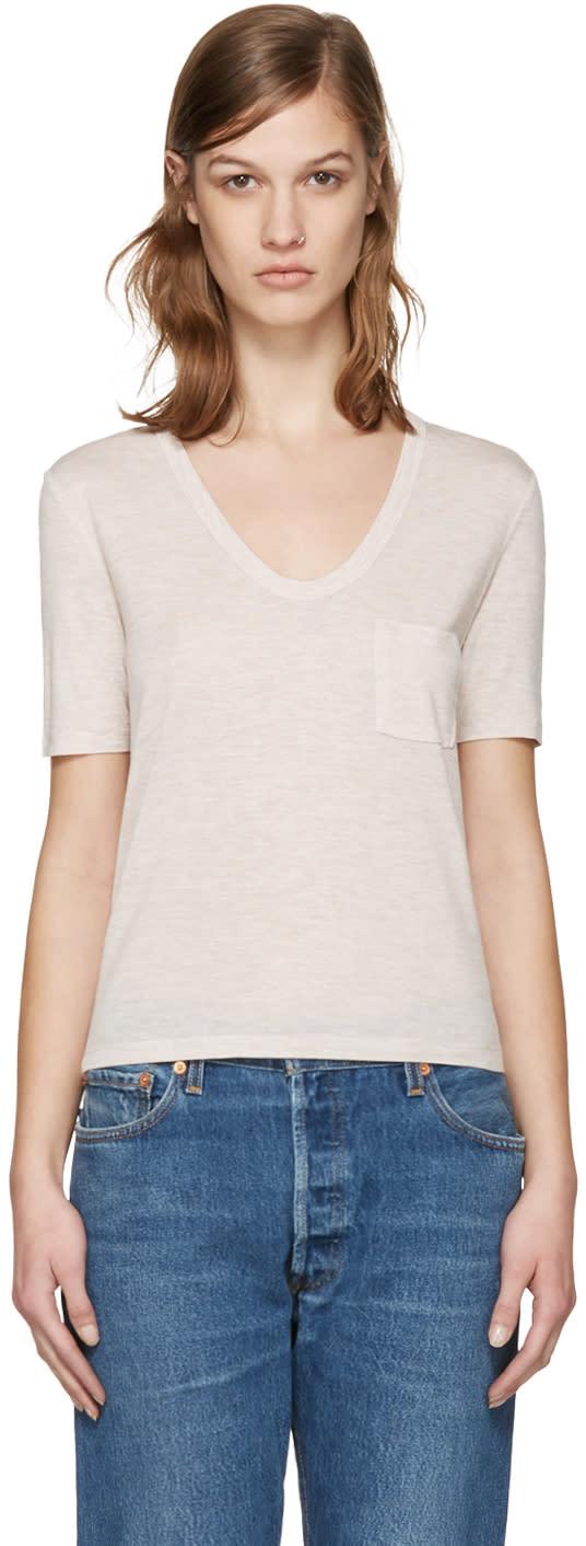 T By Alexander Wang Beige Jersey Pocket T-shirt