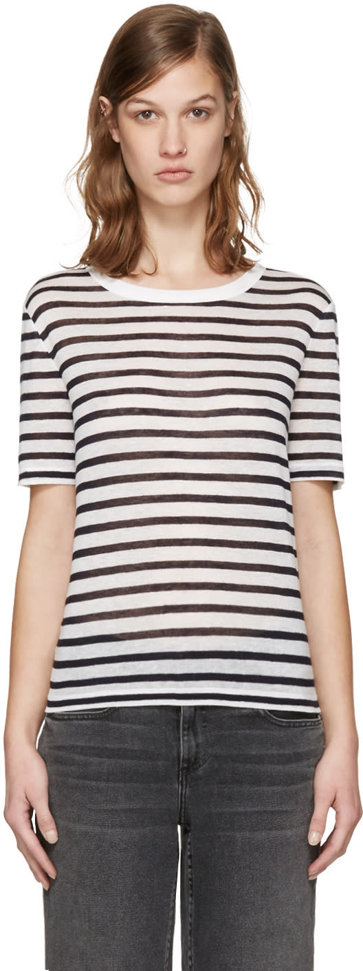 T By Alexander Wang Navy and White Striped T-shirt