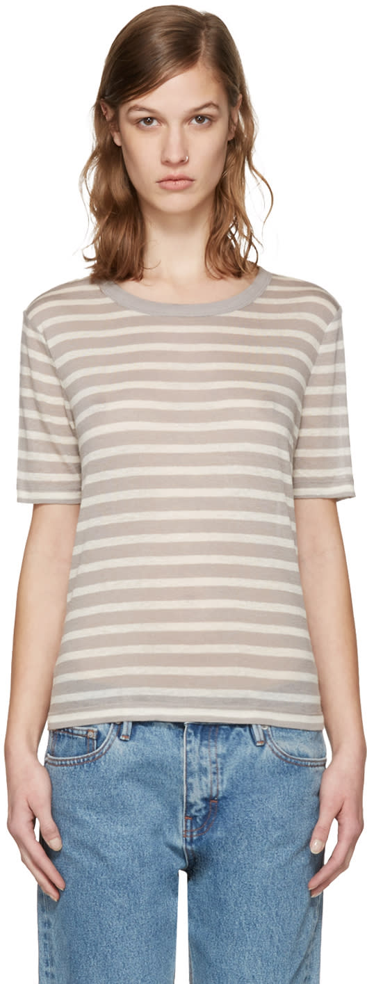 T By Alexander Wang Beige and Taupe Striped T-shirt