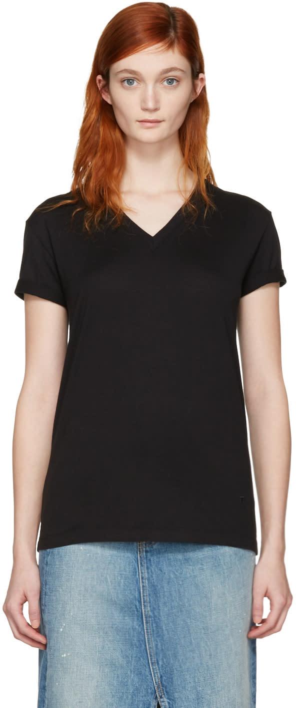 T By Alexander Wang Black V-neck T-shirt