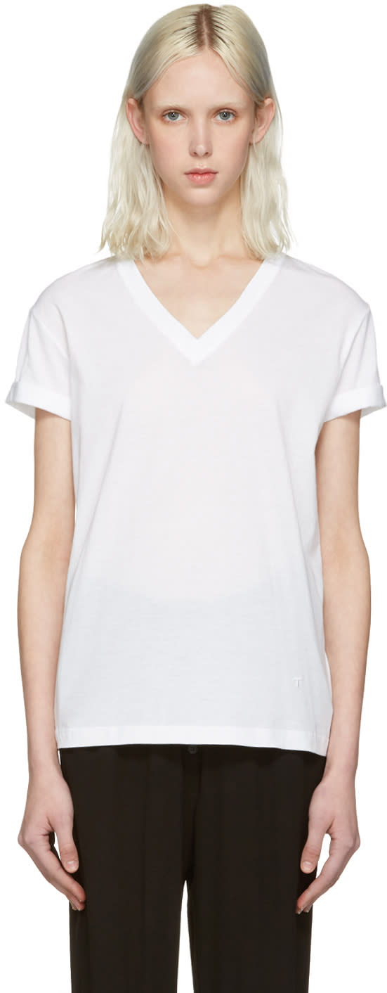 T By Alexander Wang White V-neck T-shirt
