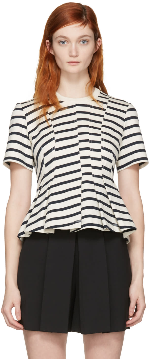 T By Alexander Wang Ivory Striped Peplum Pullover
