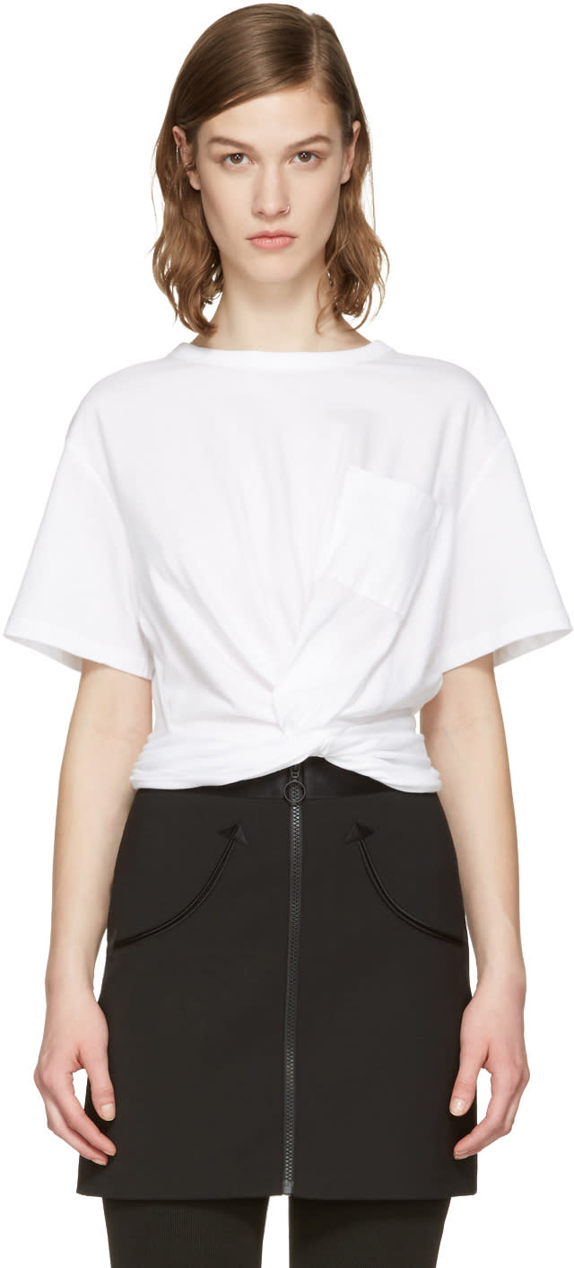 T By Alexander Wang White Front Twist T-shirt