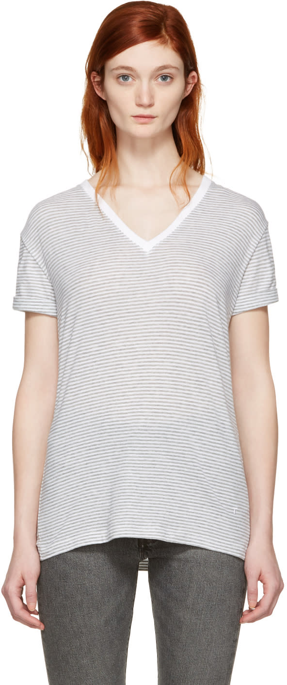 T By Alexander Wang Grey and White V-neck T-shirt