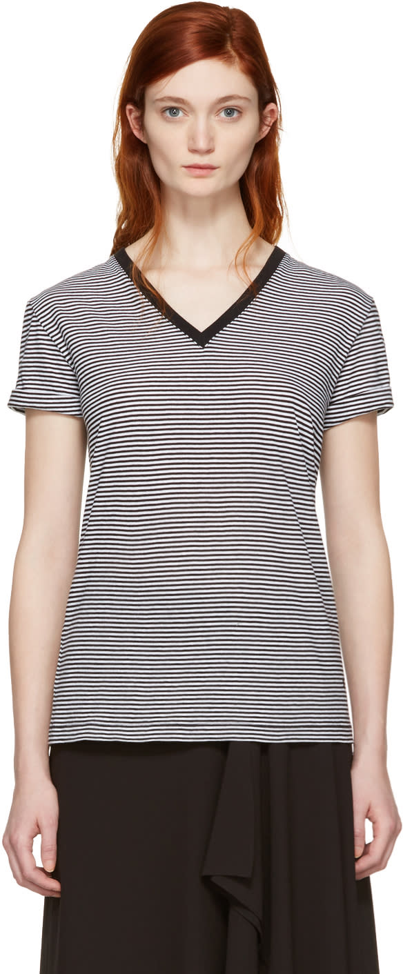 T By Alexander Wang Black and White V-neck T-shirt