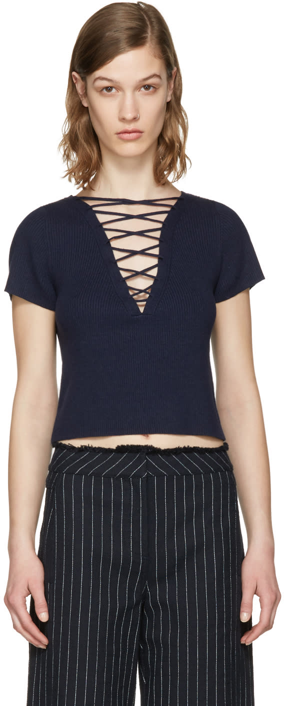 T By Alexander Wang Navy Lace-up Pullover