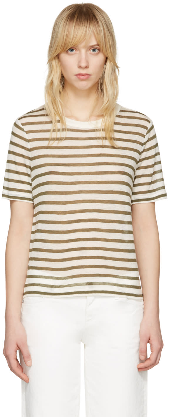 T By Alexander Wang Ivory and Green Cropped T-shirt