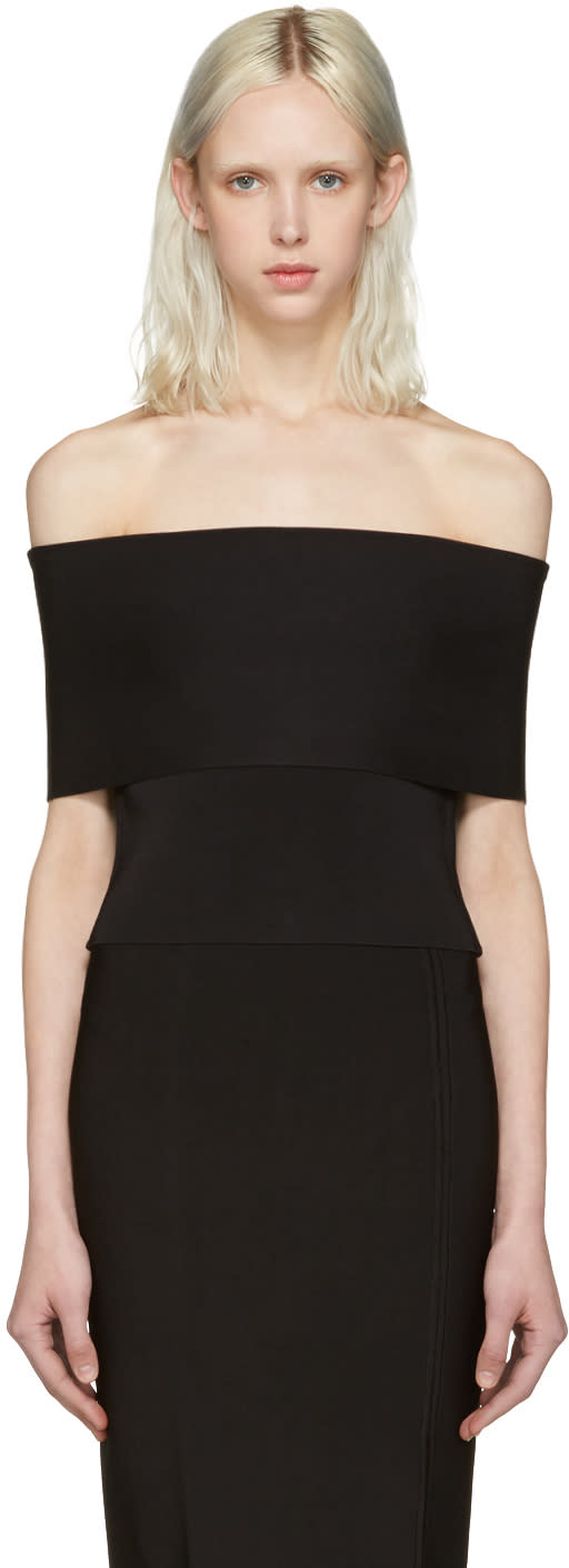 T By Alexander Wang Black Needle Knit Off-the-shoulder Top