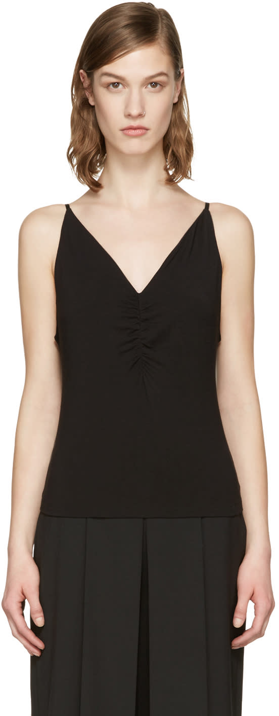 T By Alexander Wang Black Shirred Front Tank Top