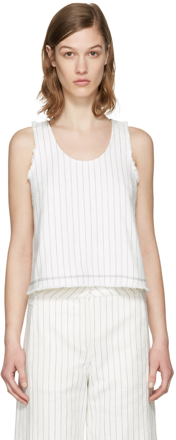 T By Alexander Wang White Cropped Cotton Burlap Tank Top