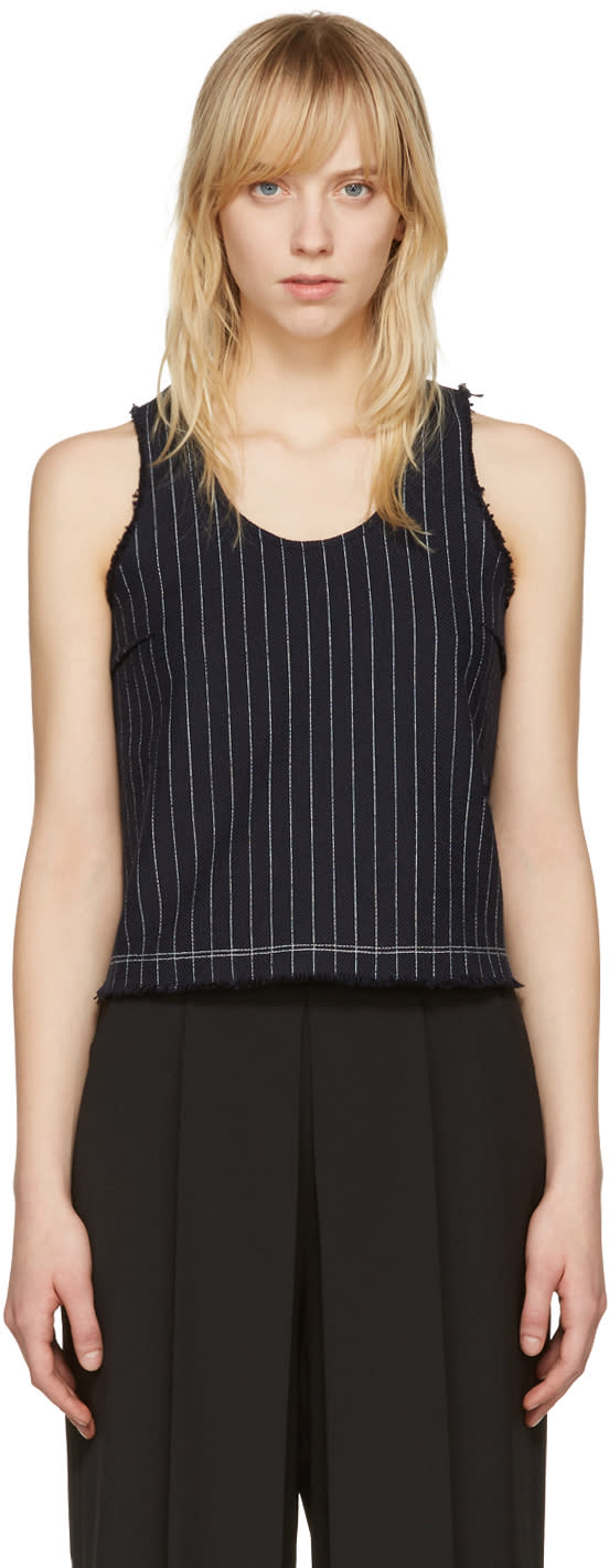 T By Alexander Wang Navy Cropped Cotton Burlap Tank Top