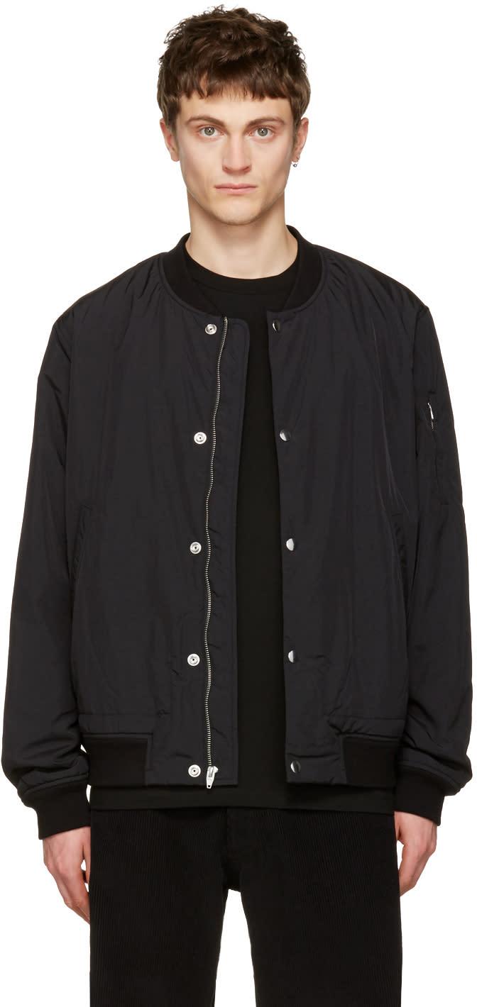 T By Alexander Wang Black Nylon Bomber Jacket