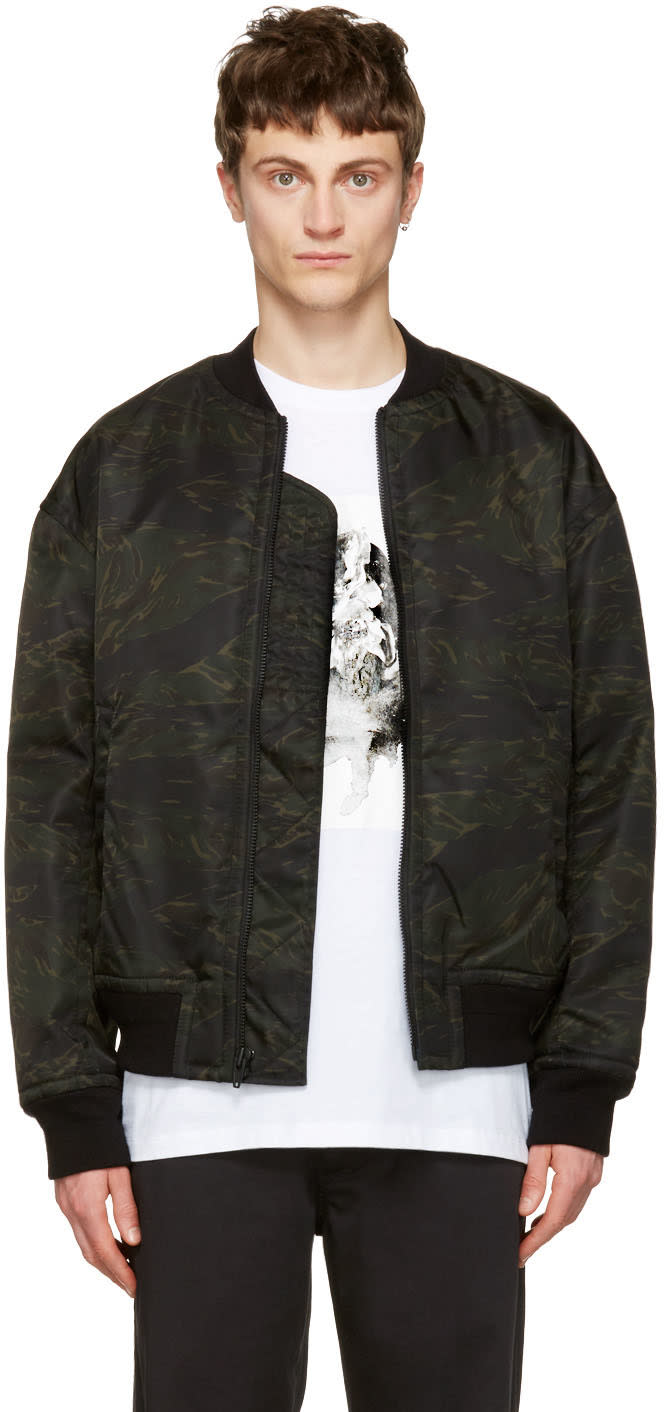 T By Alexander Wang Green Camo Back Insert Bomber Jacket