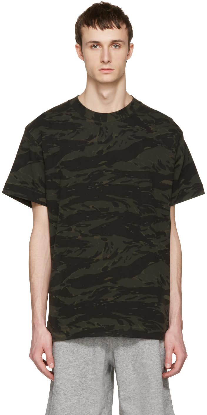 T By Alexander Wang Green Camouflage Back Panel T-shirt