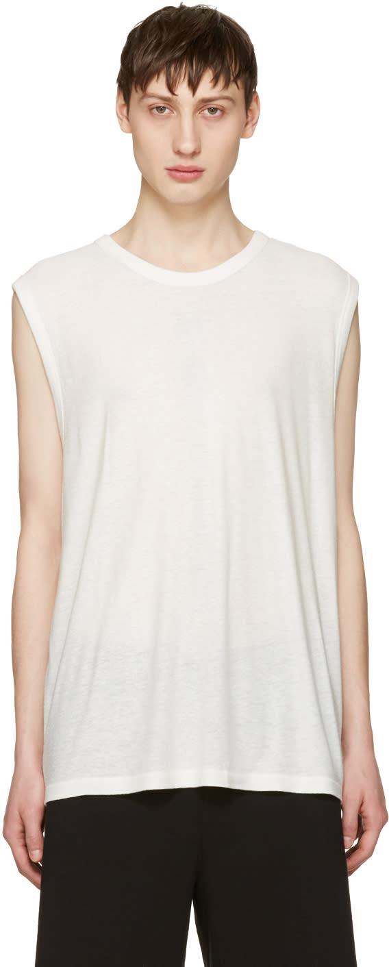 T By Alexander Wang Ivory Sleeveless T-shirt