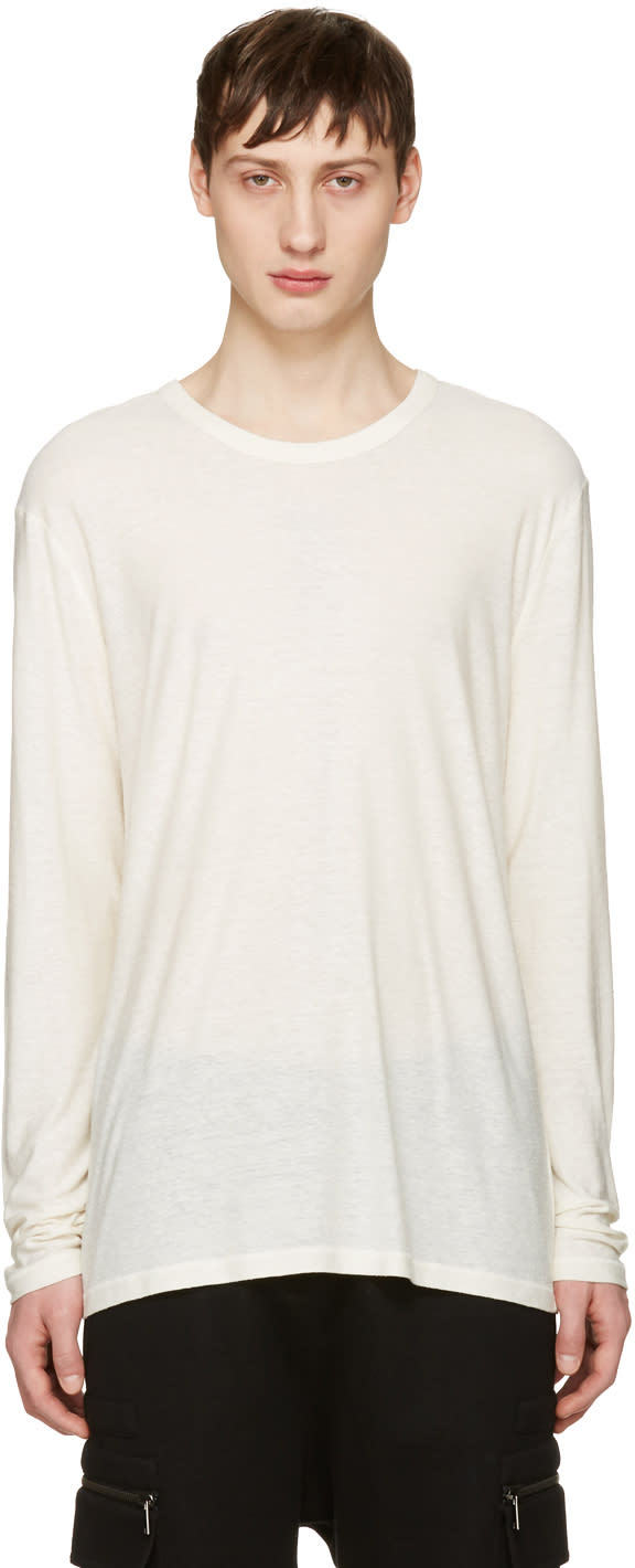 T By Alexander Wang Ivory Long Sleeve T-shirt