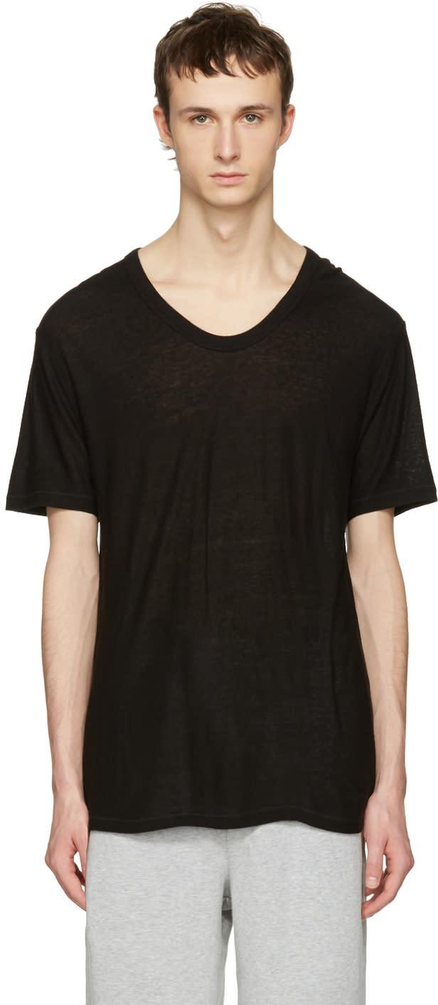 T By Alexander Wang Black Silk-blend T-shirt