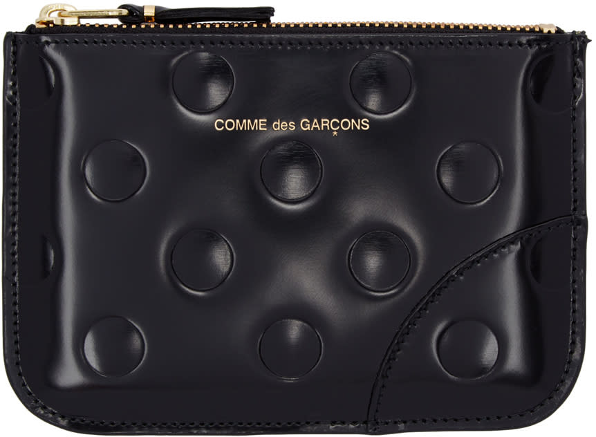 Image of Comme Des Garçons Wallets Black Patent Polka Dot Pouch