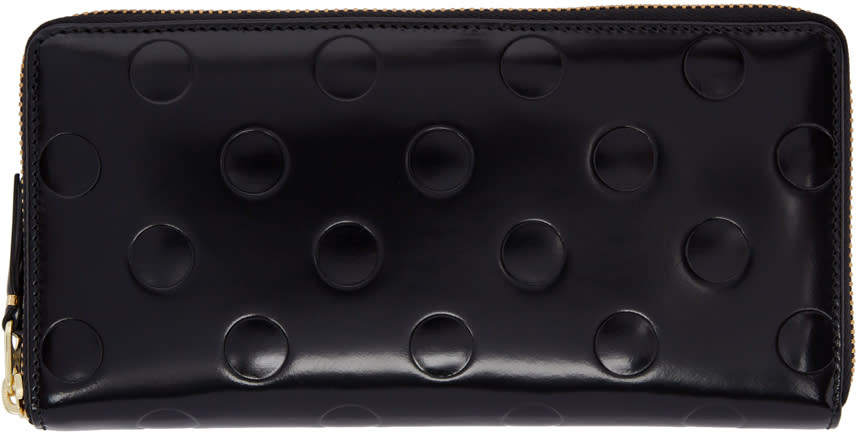 Image of Comme Des Garçons Wallets Black Patent Polka Dot Continental Wallet