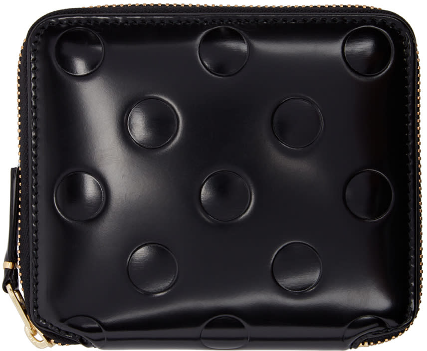 Image of Comme Des Garçons Wallets Black Small Polka Dot Continental Wallet