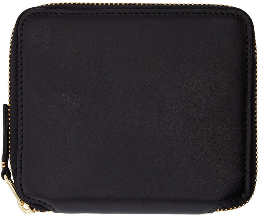 Image of Comme Des Garçons Wallets Black Leather Fold Over Wallet