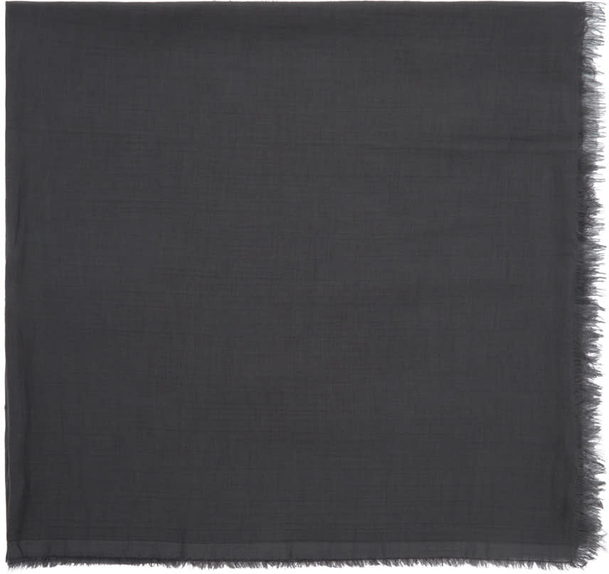 Rick Owens Grey Cashmere and Cotton Scarf