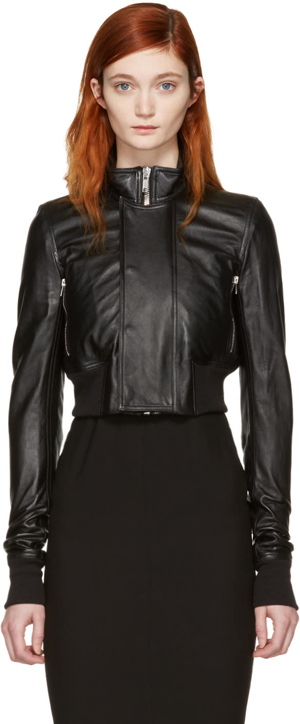 Rick Owens Black Leather Glitter Cropped Jacket