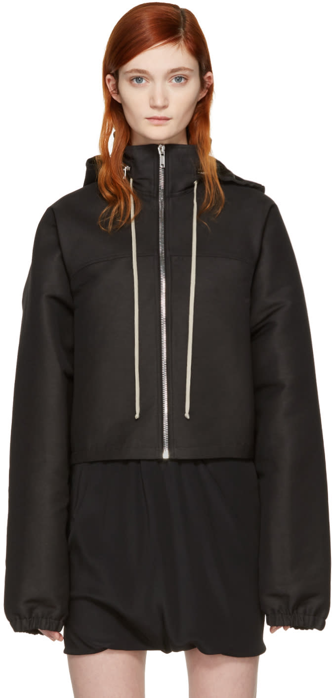 Rick Owens Black Hooded Cropped Windbreaker