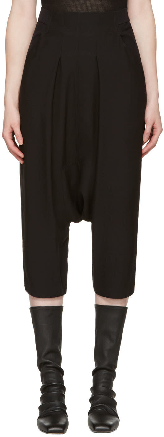 Rick Owens Black Creatch Cropped Trousers