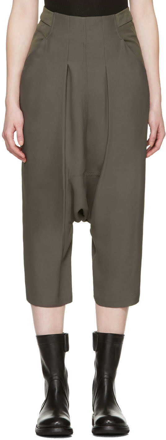 Rick Owens Grey Creatch Cropped Trousers