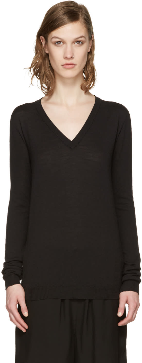 Rick Owens Black V-neck Lupetto Sweater